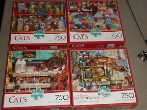 LOT OF 4 CATS 750 pc puzzles DOORSTEP RAIDERS / SPICE RACK KITTENS & MORE   EC