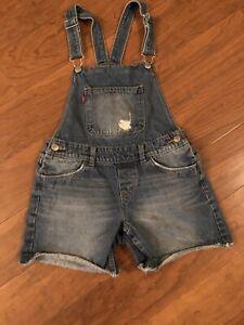 Levi's Shortall Girls Denim Overall Shorts Size 12 Reg.