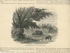 ANTIQUE BELVOIR CASTLE GRANTHAM ROAD HORSE DOG TREES FENCE NATURE ART OLD PRINT
