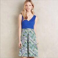 Anthropologie HD In Paris Ardmore Dress blue green size 2 sleeveless