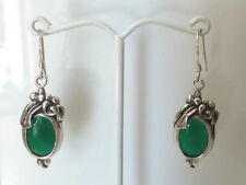 Sterling Silver Vintage Green Stone Dangle/Drop Earring