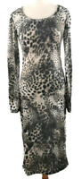 Long Tall Sally LTS Size 12 Long Sleeve Leopard Print Shift Midi Dress Party