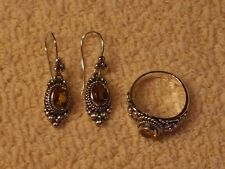 925 Silver Flower Citrine Earrings & Ring 8Suarti Artisan Craftedin Indonesia