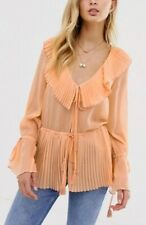 ASOS Pleated Sleeve Sheer Peach Tie Front 70's Style Top 8