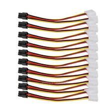 10pcs/Lot Molex 4 Pin to PCI-E 6 Pin Power Converter Adapter Cable Connector