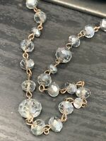 Vintage Long Sweater Necklace Clear /grey Glass  Beaded Crystal  40""