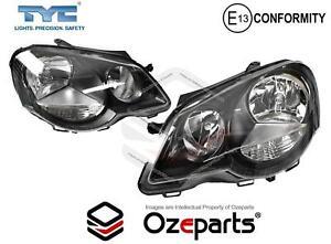 Set / Pair LH+RH Head Light Lamp GTi Black For VW VolksWagen Polo 9N 2005~2010
