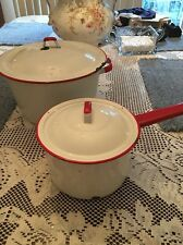 Vintage Enamelware Red and White Stock Pot Lid & Sauce Pan With Lid