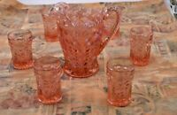 IMPERIAL LENOX GLASS TIGER LILLY PINK CARNIVAL 7 PIECE PITCHER & TUMBLER SET