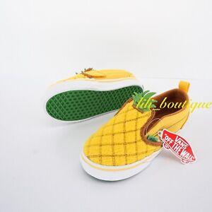 No Box New Vans Toddler Slip-On V Shoes Canvas Pineapple Lemon Chrome Size 10C