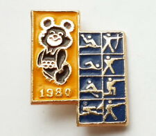 Pin Badge MISHA mascot USSR Olympic Games Moscow 1980 Sports Double Yellow-blue