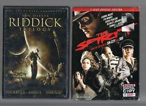 Movie Double Feature on DVD ~ Riddick Trilogy & The Spirit  Vin Diesel