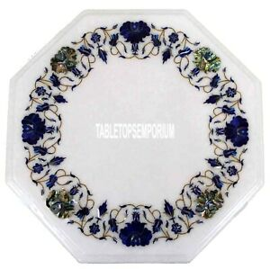 """16"""" White Marble Coffee Table Top Lapis Stones Inlay Marquetry Handicraft Decor"""