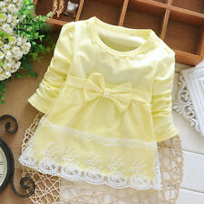 Infant Toddler Baby Girl Long Sleeve Princess Bowknot Elegant Tutu Dress Clothes Pink 3-6 Months