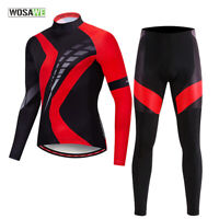 Men Cycling Sets Long Sleeve Jersey Pants Gel Padded Quick Dry MTB Bike Riding