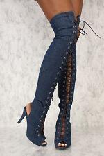 New Women Denim Lace Up Peep Toe Stiletto High Heel Over The Knee Gladiator Boot