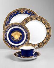 VERSACE MEDUSA 5 PIECE PLACE SETTING PLATE BLUE GOLD cup saucer Retai $700 SALE
