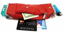Deluxe Soft Genuine Leather Cigarette Case Coin Pouch 2 Snap+1Zipper Pocket- RED