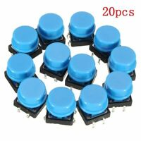 Push Button Switches 20pcs 4Pin Blue Tactile Momentary Tact Caps Waterproof Kits