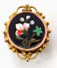 Small Victorian Floral Petra Pietra Dura Pin Ornate 12K Gold Bezel