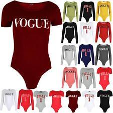 Womens Ladies Vogue Print Short Cap Sleeves Jersey Leotard Bodysuit Top UK 8-14
