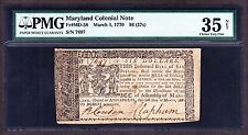 US $6 (27s) Maryland Colonial Currency 03/01/1770 FR MD58 PMG VF 35 Net (-697)