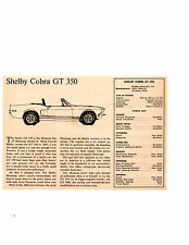 1968 SHELBY COBRA GT-350 302/250 HP ~ ORIGINAL SMALLER ROAD TEST / ARTICLE / AD