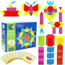 Lewo 130 PCS Wooden Pattern Blocks Geometric Shape Puzzles Educational Toys