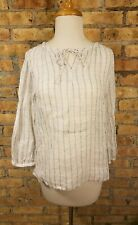 Eileen Fisher White Gray Striped Linen Blouse Tie Front Long Sleeve PS Petite Sm