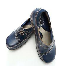 L'Artiste Spring Step Burbank Womens Leather Slip-on Blue Clog Shoes 5/35 NEW