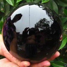 Hot Black Obsidian Sphere Large Crystal Ball Healing  75-80MM with Wood Stand