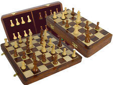 "Chess Set Victorian Staunton 3.5"" + Folding Chess Board Sheesham Wood + Wtd Pcs."
