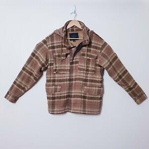 Matix Mens Size S Small Brown Tan Check Plaid Zip Up Jumper Jacket