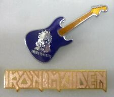 IRON MAIDEN Enamel Lapel Pin Badges x 2 POP MUSIC HEAVY METAL BAND Guitar D BLUE