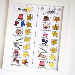 Kids routine chart, Morning & Evening Planner, toddler Reward Chart, Autism ADHD