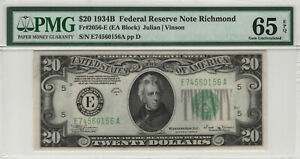 1934 B $20 FEDERAL RESERVE NOTE RICHMOND FR.2056-E PMG GEM UNCIRCULATED 65 EPQ