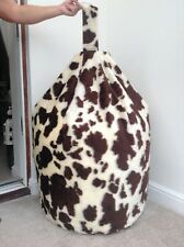 Cover only bean bag adult brown cow 6 cubic ft Animal print new