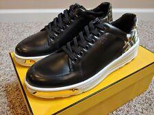$890, Fendi Men's FF Logo Black Gold Plate Sneaker, Size 9 US (42 EUR / 8 UK)