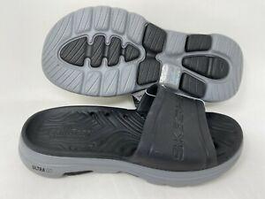 NEW! Skechers Men's GOwalk 5 Surf's Out Slide Sandals Black/Gray #243005 196L tz