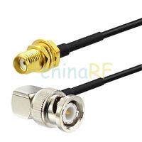 BNC Male Plug right angle to SMA Female bulkhead RF Pigtail cable RG174 15cm