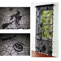 Halloween Pumpkin Spider Web Bat Witch Lace Window Curtain Scary Party Decor