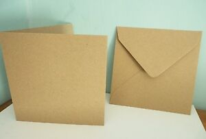 """KRAFT SQUARE CARD BLANKS & ENVELOPES  5 X 5"""" made from recycled paper"""