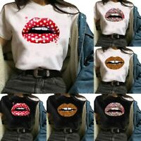 Fashion Women Lips Printed Short Sleeve T Shirt Casual Round Neck Blouse Tee Top