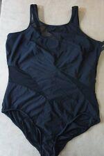 INC International Concepts One Piece Sz 20 Black Mesh Cut Outs Swimsuit 469922