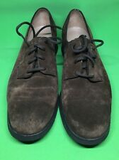 SALVATORE FERRAGAMO brown suede lace up OXFORD SHOES SIZE 7 B MADE ITALY
