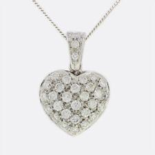 Secondhand 18ct White Gold Multi Diamond Heart Shape Pendant & Chain