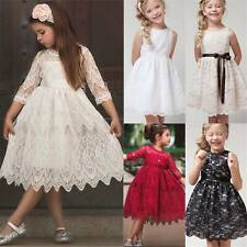 Kids Flower Girls Lace Dress Party Princess Wedding Prom Gown Formal Bridesmaid