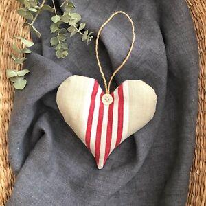 French Vintage Cotton Ticking Lavender Filled Heart Door Hanger