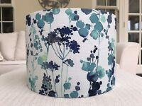 Handmade Lampshade John Lewis Contemporary Floral 'Olsen' Blue Teal Aqua Fabric