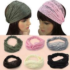 Fashion Women  Girl Chic Bandanas Turban Lace Hair Head Wraps Wide Headband、;AU